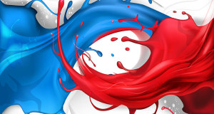 Blue and red splash wave concept